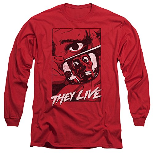They Live - T-shirt Graphic Poster homme manches longues, XX-Large, Red