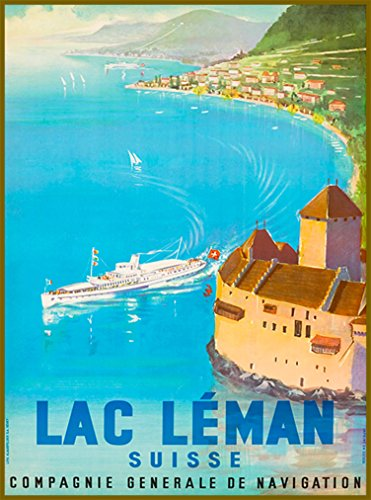 A SLICE IN TIME Lac Lake Leman Switzerland Europe European Schweiz Suisse Swiss Vintage Travel Home Collectible Wall Decor Advertisement Art Poster Print. 10 x 13.5 inches.