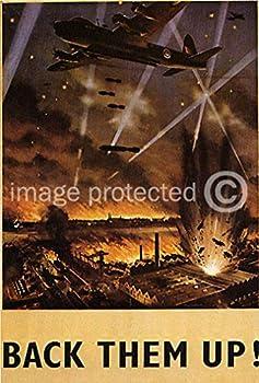 AGS - Vintage World War Two WW2 British Military Propaganda Poster Back Them Up! - 24x36