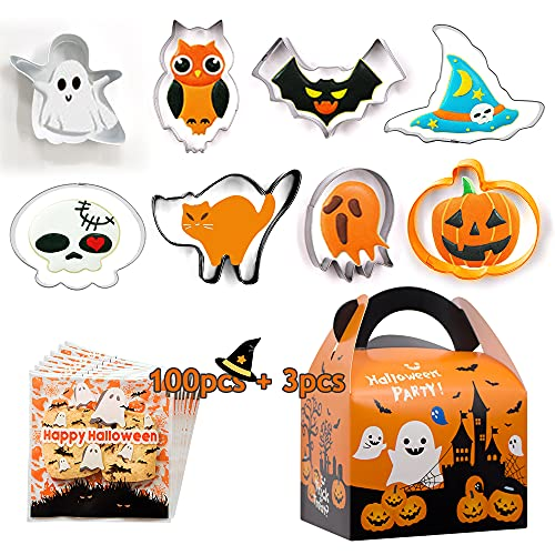 SnailGarden 111 szt. Halloween foremka do ciastek, z 100 szt. torba na cukierki i 3 pudełkami na ciasteczka, 8 szt. różnych kształtów foremka do ciasteczek ze stali nierdzewnej