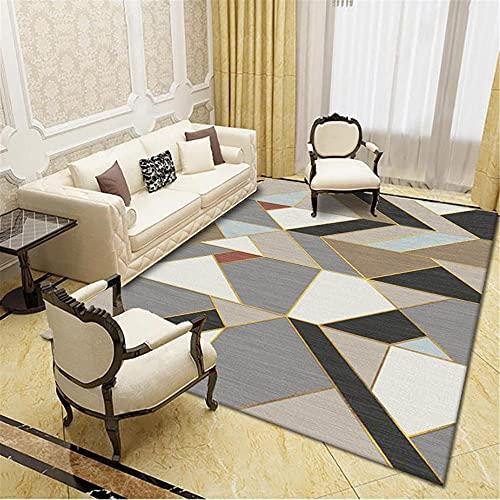 IRCATH Gris Blanco Negro Irregular geométrico patrón de mármol salón sofá Oficina Mesa de café Estudio decoración alfombra-120x180cm Resistente y Duradera Resistente a la presión sin decoloración