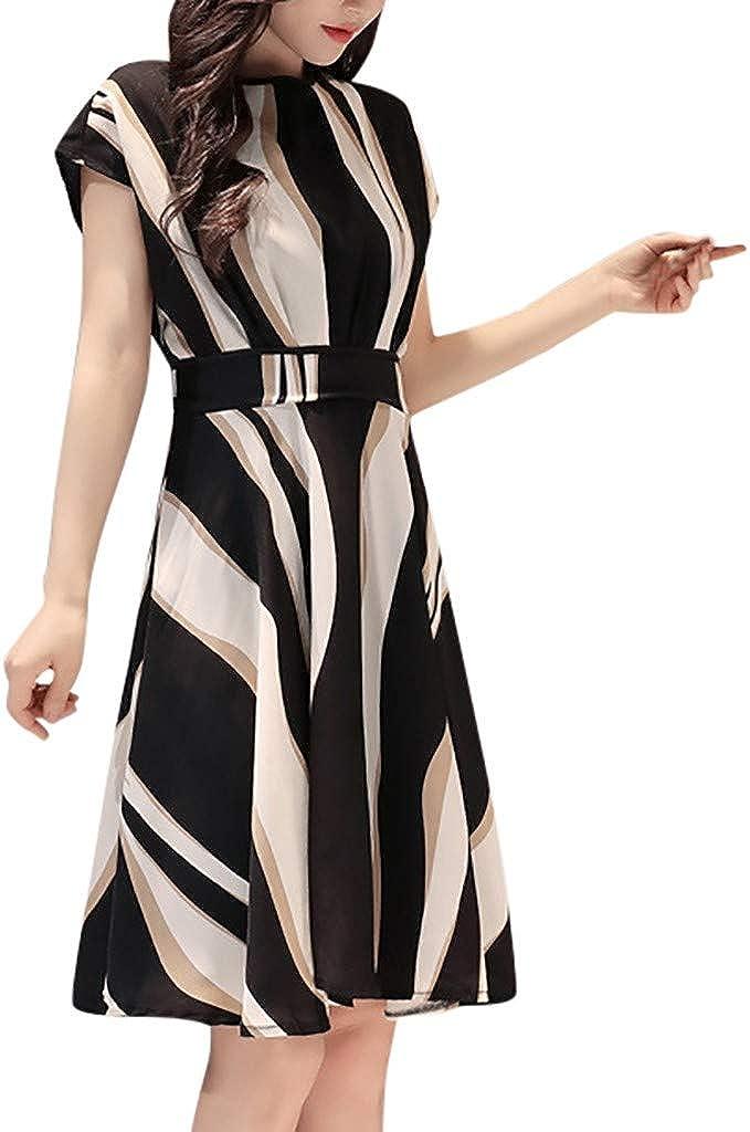 Portazai Women's Tunic Shirt Dresses Striped Crewneck Short Sleeve Knee Length Business Work Dress with Belt