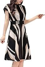 Womens Short Sleeve Business Dress Belt O-Neck Short Sleeve Knee Women Casual Daily Length Dress
