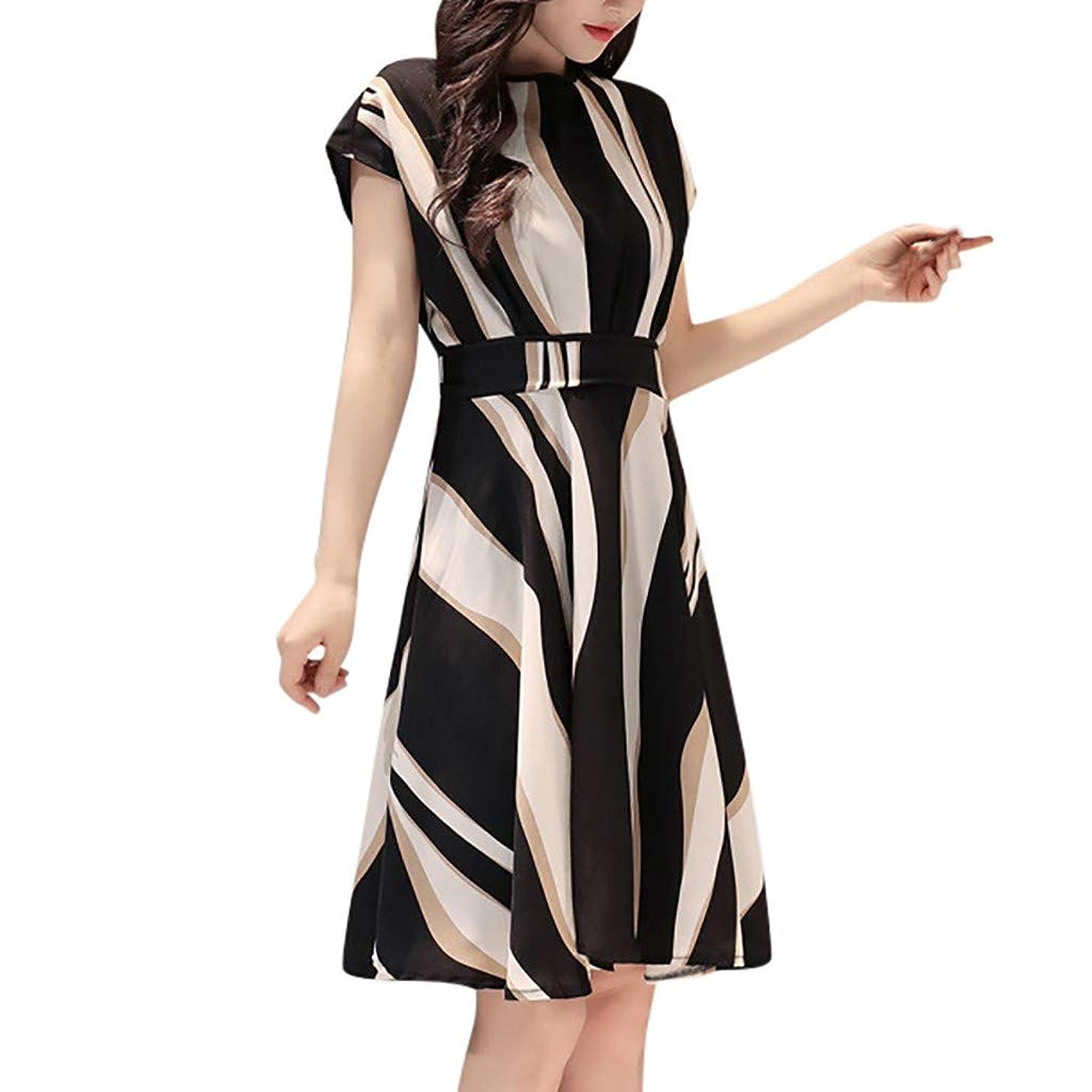 Qvwanle Fashion Women Business Dress Belt O-Neck Short Sleeve Knee Length Dress
