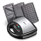 Yabano Sandwich Maker, Waffle Maker, Sandwich Grill, 800-Watts, 3-in-1 Detachable Non-stick Coating, LED Indicator Lights, Cool Touch Handle, Anti-Skid Feet, Black