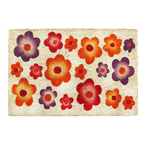 Delindo Lifestyle Kokos Fussmatte Blumen, Tür Fußabtreter für Innenbereich, 40x60 cm, besonders strapazierfähig