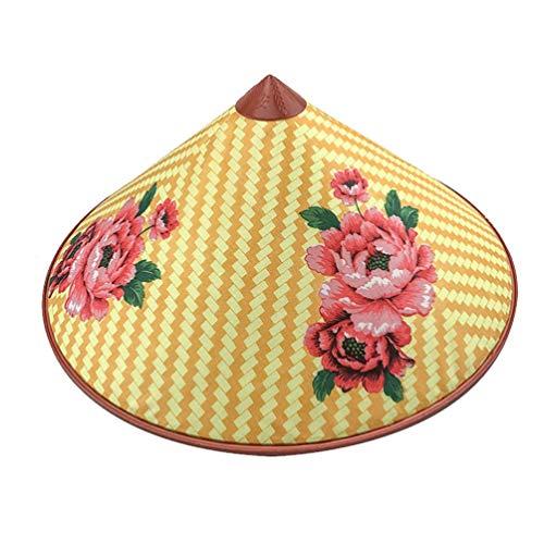 PRETYZOOM Bambus Hut Vintage Blumen Strohhut Unisex Asiatischen Stil Reisbauer Bauer Fischer Angeln Hut Party Kostüm Kopfbedeckung Cosplay Zubehör