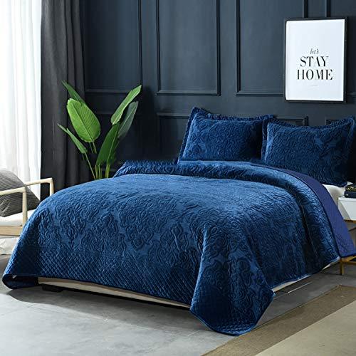 WDXN Tagesdecke 230 x 250 cm Bettüberwurf Gesteppt Bettwäsche Geprägte Aus Besticktem Hochwertigem Samtstoff Blaue Wendebettdecke Mit 2 Kissenbezügen