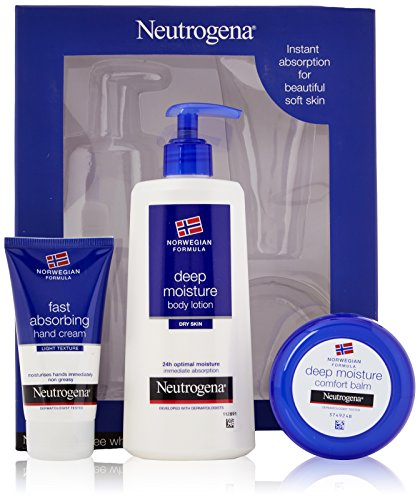 Neutrogena Norwegian Formula Deep Moisture Gift Set, Includes: Body Lotion, Comfort Balm and Fast Absorbing Hand Cream