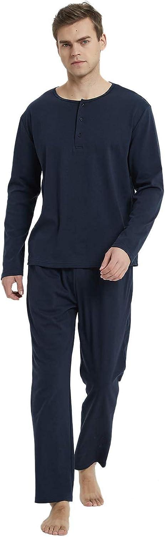 Mucwer Men's Cotton Striped Sleepwear Long Sleeve Top & Bottom Pajama Set ( S-XXL )