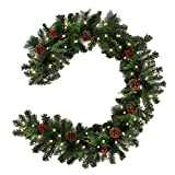1.8M Pre-Lit Decorated Garland with Lights Christmas Garlands Decorations for Stairs Fireplaces Artificial Wreath Garland with Cones, Red Berries and Illuminated with 30 Clear Lights (30 LEDS)
