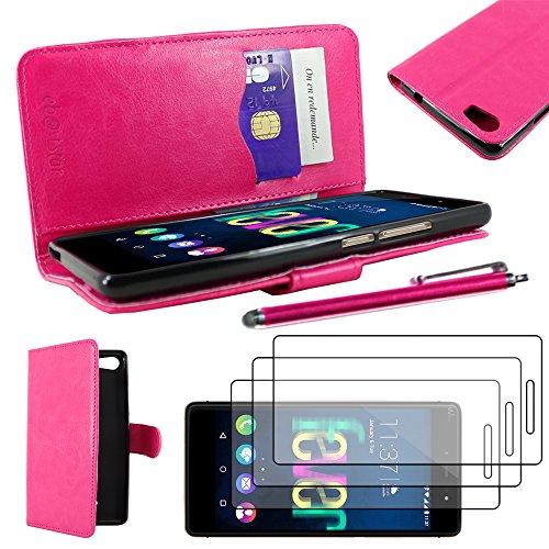 ebestStar - Cover Compatibile con Wiko Fever 4G Custodia Portafoglio Pelle PU Protezione Libro Flip + Penna +3 Pellicole plastica, Rosa [Apparecchio: 148 x 73.8 x 8.3mm, 5.2'']