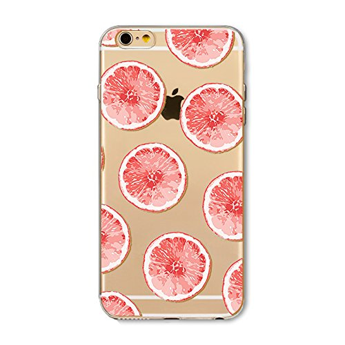 BoomTeck Hülle iPhone SE, iPhone 5S Silikon Transparent weiche Gel TPU Slim Schutzhülle für iPhone SE/iPhone 5S Ultra Dünn Stoßfest Gummi Durchsichtig Handyhülle Grapefruit Obst
