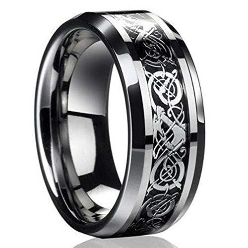 NEXT FASHION Silver Black Celtic Ring Dragon Titanium Stainless Steel Men's Wedding Band 8mm Jewelry Rings - Celtic 12