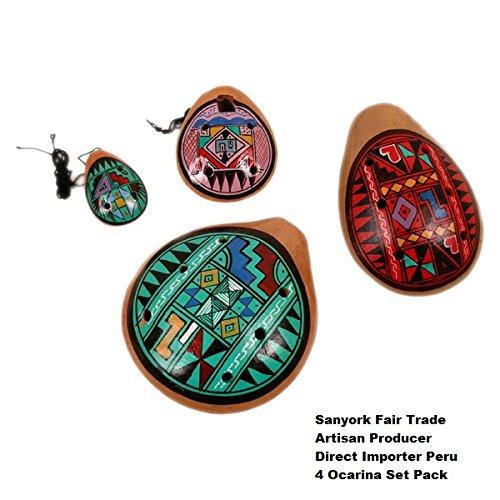 Sanyork Fair Trade Ocarina Geometric Whistles Flutes Collector's Pack Assortment 4 Pieces Set