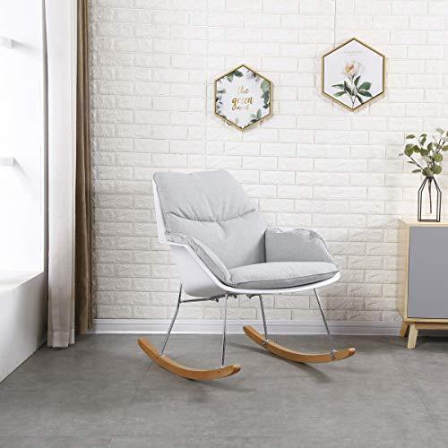 KAWOLA stoel Zony schommelstoel stof grijs met witte schaal