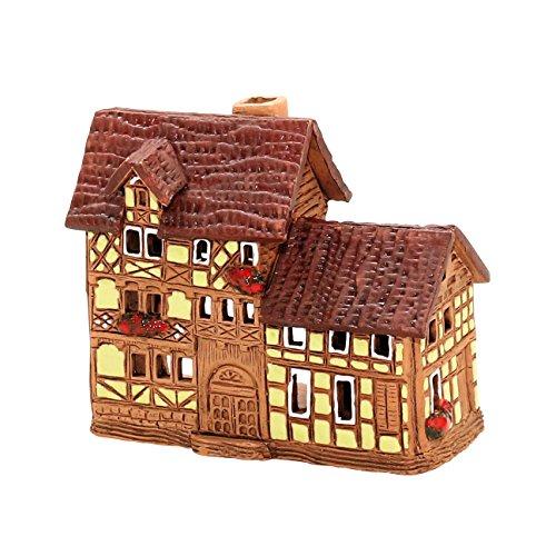 Splendido mano–Casetta illuminata–Art–motivo: casa a graticcio in in ceramica Dimensioni:, 5,5 x 10 x 8 cm