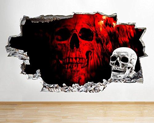 tekkdesigns q867rot Totenkopf Cool Horror Schlafzimmer zerstörten Wand Aufkleber 3D Kunst Aufkleber Vinyl Raum