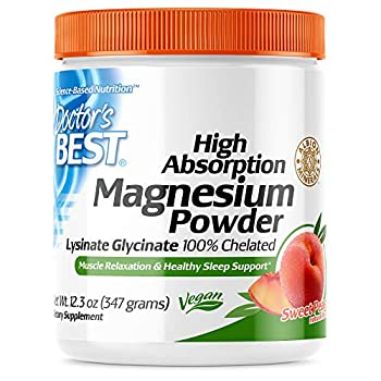 Doctor s Best High Absorption Magnesium Powder  Peach Flavored  100% Chelated TRACCS Not Buffered Headaches Muscle Nerve Sleep Energy Leg Cramps Stress Anxiety Immune Vegan Peach Flavor