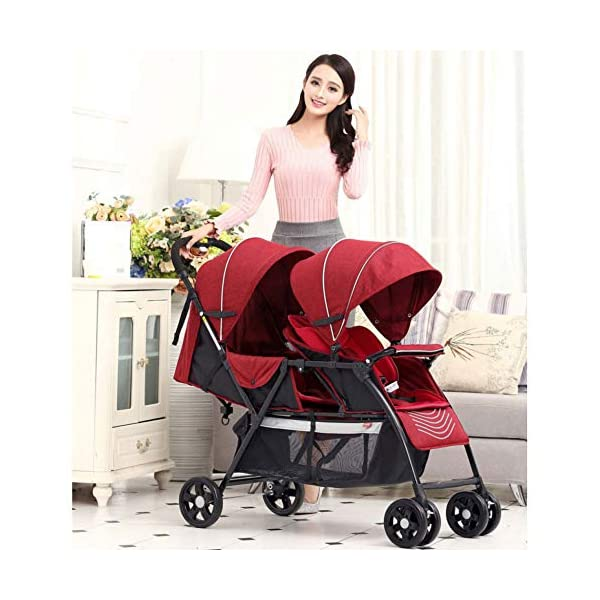 JXCC Double Strollers Baby Pram Tandem Buggy Newborn Pushchair with Adjustable Backrest- (Grey/Red) -Safe And Stylish Red JXCC 1. {Multi-angle adjustable}: The rear seat can sit down and adjust the angle from 0 to 175 degrees, suitable for all occasions. 3.{3D stereo shock} - X-frame setting, evenly dispersing the upper weight 1.{All seasons} - The awning can be adjusted at multiple angles to easily cope with the sun 4