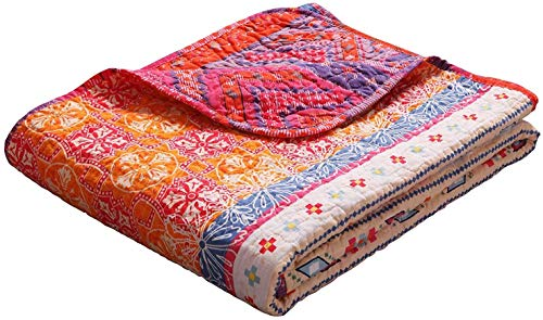 """Exclusivo Mezcla Luxury Reversible 100% Cotton Multicolored Boho Stripe Quilted Twin Size Bed Blanket 60"""" x 80"""" Machine Washable and Dryable"""