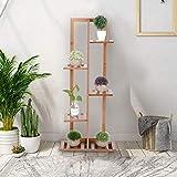 GOTOTOP Turn-n-Tube - Estante de esquina con 4 niveles para plantas, de bambú, estantería de escritorio, organizador de flores en maceta