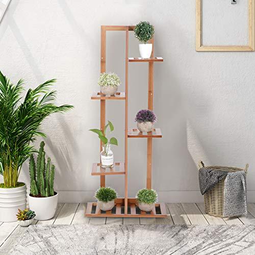 GOTOTOP Turn-n-Tube étagère d'angle à 4 Niveaux, étagère à Plantes autoportante en Bambou bibliothèque de Bureau Organisateur de Fleurs en Pot
