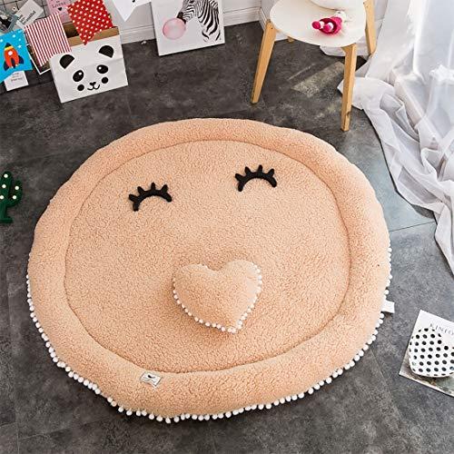 I-Light-T Alfombra Redonda Dormitorio Simple de algodón for bebés gateando Alfombra salón del cojín del Juego Diámetro 140 cm, Blanco (Color : White)