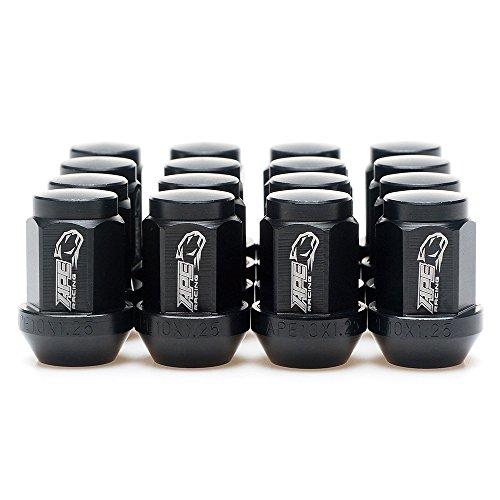 Black Acorn Radmuttern – APE Racing geschmiedetes 7075-T6 Aluminium 10 x 1,25 mm Kegelmuttern (16 Stück) für ATV Quad, 17 mm Sechskantkopf, 60 konischer Sitz, extrem leicht und korrosionsbeständig.