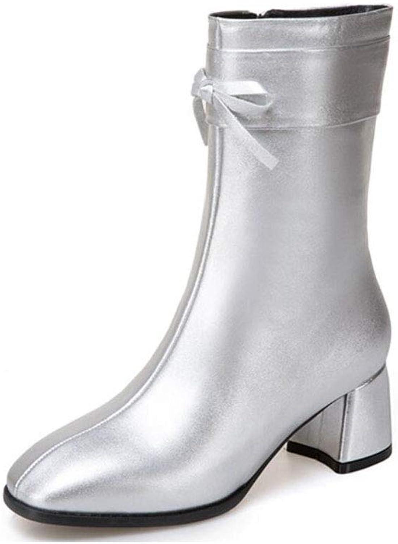 Mina damer Booslipss, Square Head Retro Bow Mode skor Kvinnliga skor med stor storlek Kvinnors Stövlar Högklackar i tuber Kvinnliga Stövlar (Färg  silver, Storlek  40)
