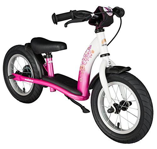 BIKESTAR Vélo Draisienne Enfants pour Garcons et Filles de 3 - 4 Ans | Vélo sans pédales évolutive 12 Pouces Classique | Rose & Blanc