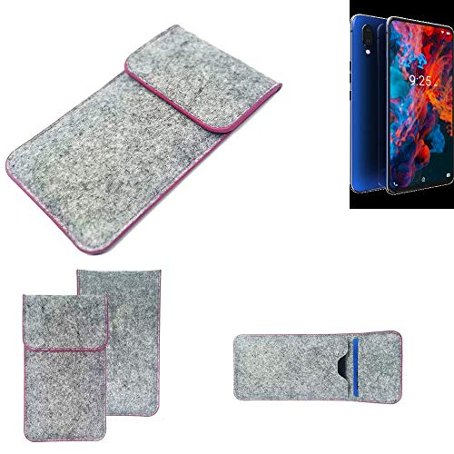 K-S-Trade Handy Schutz Hülle Für Archos Diamond 2019 Schutzhülle Handyhülle Filztasche Pouch Tasche Hülle Sleeve Filzhülle Hellgrau Pinker Rand