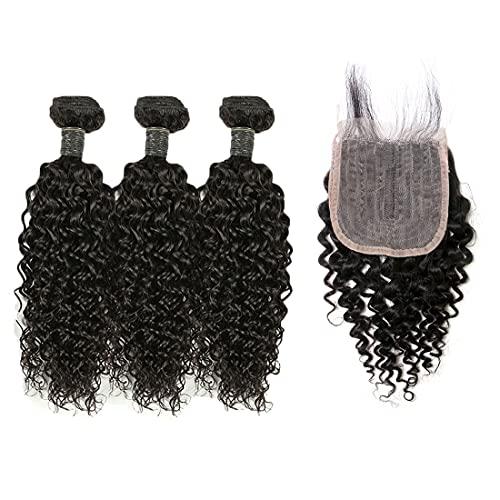 BLISSHAIR 3 Bündel mit Lace Closure, Brasilianisches Echthaar Lockig Weave Wefte mit Verschluss Haarverlängerung Kinky Curly Hair Bundles with Closure 100% Virgin Remy Hair...
