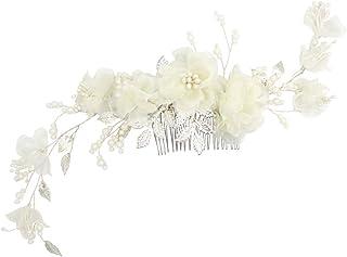 Minkissy Bridal Hair Accessory Alloy Leaf Elegant Chiffon Flowers Decorative Headdress Insert Hair Accessories for Bridal Women (Silver)