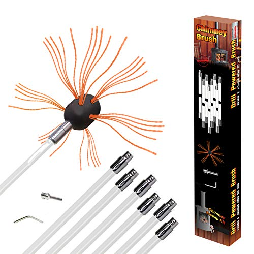 REALFLO 24-33フィート 煙突ブラシロッドキット 電気ロータリー ドリル ドライブ 掃除ツールキット ナイロンフレキシブルロッド付き (8〜10ロッド)