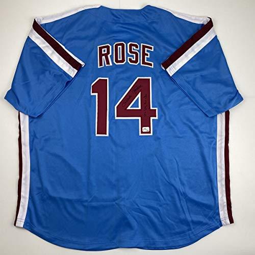 Autographed/Signed Pete Rose 4256 Philadelphia Blue Baseball Jersey Athlete Hologram COA