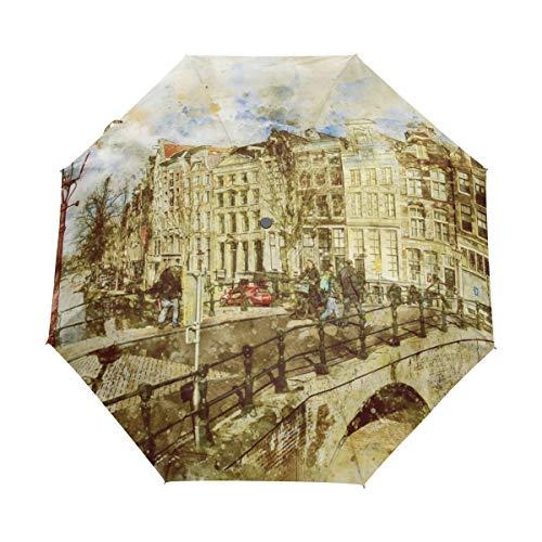 DEZIRO Amsterdam Landschap Schilderij Drie Vouw Outdoor?Paraplu?Auto open Waterdicht