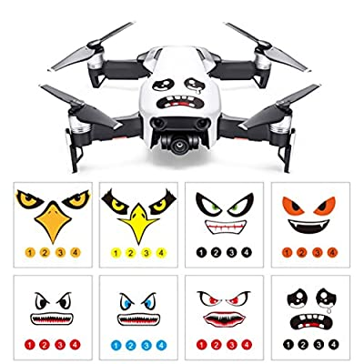 Momola 8Pcs Art Eagle Smile Emoji Shark Sticker Decal Eyes Skin Quadcopter Drone Accessory Parts For DJI DJI Mavic Air/ MAVIC PRO/ DJI Phantom 3 / 4 series / SPARK / Wingsland S6 drone