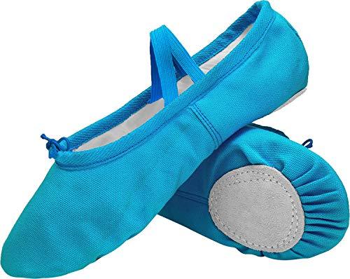 L-RUN Kids Girls Classic Canvas Practise Ballet Dancing Yoga Shoes Blue