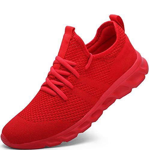 Zapatillas de Running para Hombre Casual Tenis Asfalto Zapatos Deporte Fitness Gym Correr Gimnasio Deportives Transpirables Seguridad Atlético Trekking Bambas Plataform Sneakers Rojo 39 EU