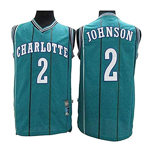 YB-DB NBA Basketball Jersey NBA Charlotte Hornets 2# Larry Johnson Retro-Stickerei Jersey, cool atmungsaktiv, Unisex Basketball-Fan ärmel Sport-Weste-Spitze,Grün,L