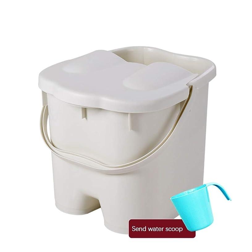 BB- ?AMTポータブルマッサージ浴槽プラスチック足湯バケツ付き蓋保温足風呂盆地大人スパボウル世帯 0409 (色 : Gray, サイズ さいず : 26.5*30*30cm)