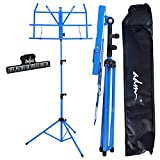 ADM Music Stand Folding Lightweight Sheet Music Stand & Desktop Stand Easy to Set Collapsible Adjustable Orchestra Portable with Carry Bag, Suitable for School & Choirs, Blue