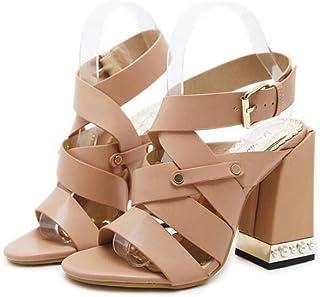 98e566bed48000 11cm Chunkly talon Cross Strap Slingbacks sandales robe chaussures femmes  pompe Open Toe creux Pure couleur