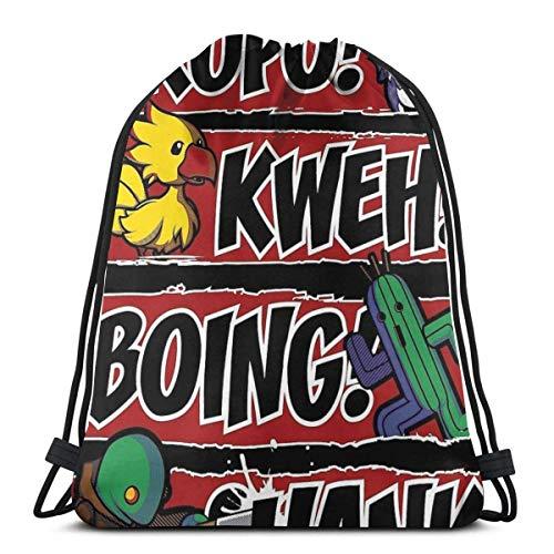 EUKhan Bolsas de cuerdas What Does The Tonberry Say Bolso de la mochila del lazo del deporte del bolso del saco del gimnasio en casa para el yoga del deporte de las compras del gimnasio
