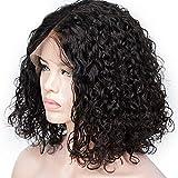 Yhxqm - Parrucca di capelli umani Remy con lace front a caschetto corto, stile rihanna, capelli ricci brasiliani, densità 130% con capelli di bambino, per donne di colore nero, lunghezza media