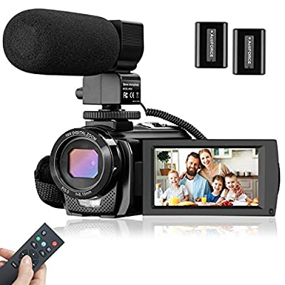 Video Camera Camcorder, FHD 1080P 30FPS 24M Vlogging Cameras for YouTube with Microphone, 16X Digital Zoom 3 Inch 270° Rotation Screen Video Recorder with Remote Control, 2 Batteries from Rosdeca