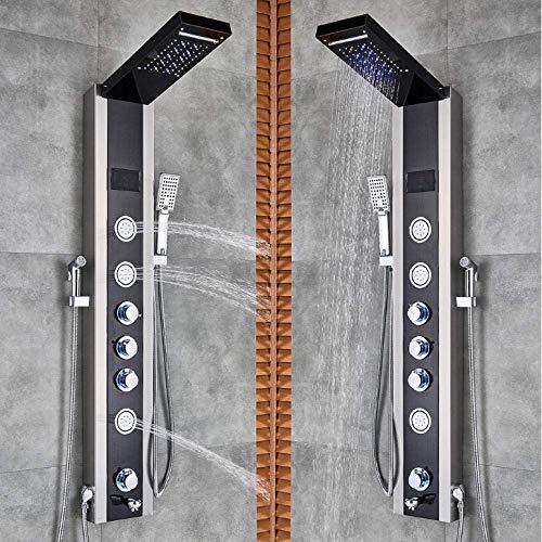 Luxus Duschpaneel LED-Licht Badezimmer Badewanne Duschsäule Turm Digital Screen Wasserfall Regen Dusche Mischer drehen Massagedüsen