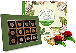 House of Nutrition Premium Assorted Chocolate Peanut Butter Cups Diwali Gift Pack 12 Pcs with 2 Candles