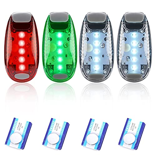 4pcs Navigation lights for boats kayak, LED Safety Light, 3 Types Flashing Mode, Easy Clip-On Kit for Boat Bow, Stern, Mast, Paddles, Pontoon, Kayaking Accessories, Yacht, Bike Tail, Red Green White